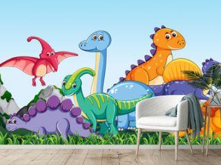 Many dinosaur  in nature
