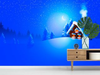 Forest landscape with winter house. Vector Illustration