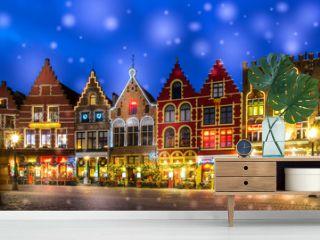 Decorated and illuminated Market square in Bruges, Belgium
