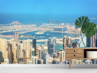 Aerial view of Dubai Marina skyline, Palm Jumeirah in the background, United Arab Emirates