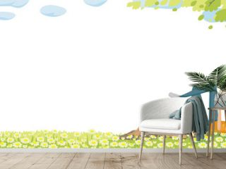 spring Spring grass and flowers border.  Woman is reading a book. Dog sleeps comfortably. Easter decoration element with spring grass and meadow. Easter greeting card decoration element. Frame design.