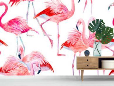 Watercolor seamless pattern pink flamingos illustration.