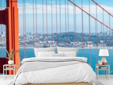 Golden Gate Bridge panorama with San Francisco skyline in summer, California, USA