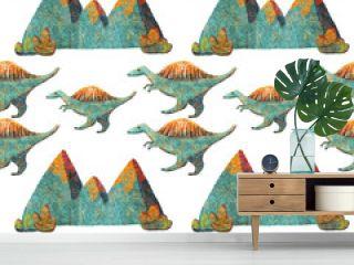 Seamless Pattern Cute Dinosaurs Stenosaurus and mountains