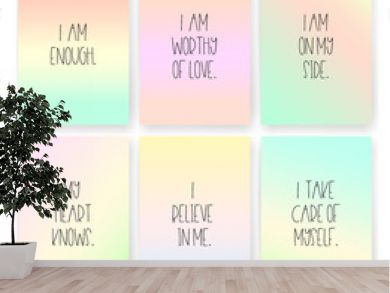 Good vibes, affirmations cards of self love on rainbow coloured backgrounds
