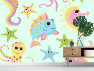 Seamless baby pattern with cute fish in ocean. Vector bright sea life illustration for kids. Seamless childrens background for wallpapers or textile.