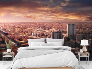 Fake dramatic sunset in Milan city