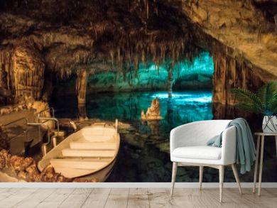 Famous cave Cuevas del Drach in Porto Christo Mallorca,.Dragon Caves.