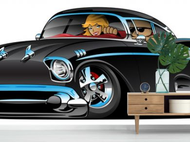 Classic American hot rod fifties muscle car cartoon with a cool man and cute blonde woman cruising, low profile, big tires and rims, jet black paint, isolated vector illustration