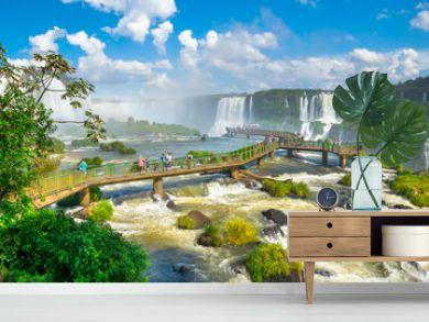 Beautiful  view of Iguazu Falls, one of the Seven Natural Wonders of the World - Foz do Iguaçu, Brazil