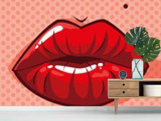 sexy woman lips pop art style