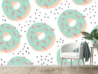 Sweet cartoon colorful donuts seamless pattern