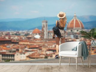 Young girl in Florence looking at Santa Maria del fiore