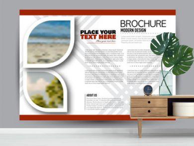 Flyer, brochure, billboard template design landscape orientation for business, education, school, presentation, website. Red color. Editable vector illustration.