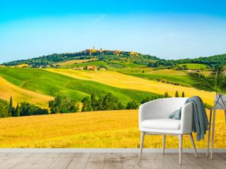 Beautiful hilly tuscany with the hill top town Pienza