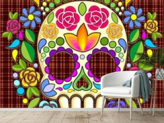 Sugar Skull Floral Naif Art Mexican Calaveras