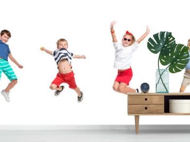 The kids dance school, ballet, hiphop, street, funky and modern dancers on white studio background. Girls and boys is showing aerobic and dance element. Teen in hip hop style. Collage