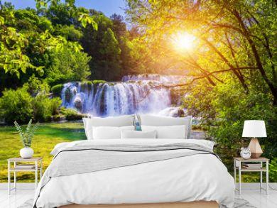 Beautiful Skradinski Buk Waterfall In Krka National Park, Dalmatia, Croatia, Europe. The magical waterfalls of Krka National Park, Split. An incredible place to visit near Split, Croatia.