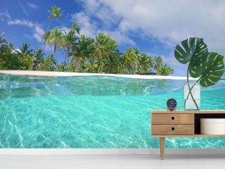 HALF HALF: Vibrant bright green tropical vegetation covering the remote island.