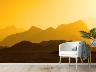 Yellow mountain silhouette