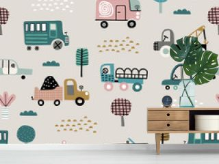 Baby seamless pattern with cute cars. Perfect for kids fabric, textile, nursery wallpaper. Cute vector illustration in scandinavian style.