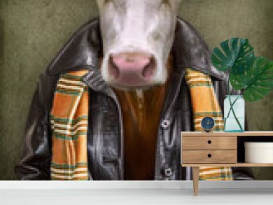 Cow in clothes. Man with a head of an cow. Concept graphic in vintage style with soft oil painting style.