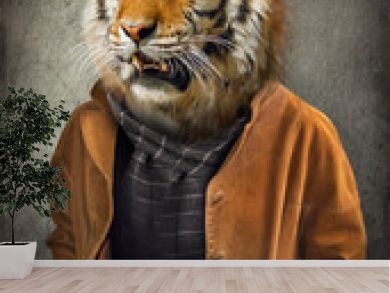 Tiger in clothes. Man with a head of an tiger. Concept graphic in vintage style with soft oil painting style.