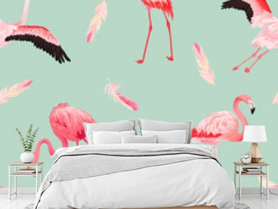 Tropical Flamingo seamless vector summer pattern with pink feathers. Exotic Pink Bird background for wallpapers, web page, texture, textile. Animal Wildlife Design