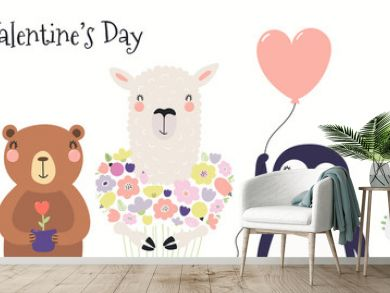 Hand drawn card with cute funny animals, hearts, text Happy Valentines day. Isolated objects on white background. Vector illustration. Scandinavian style flat design. Concept for children print.