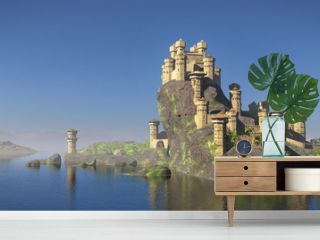 castle on a hill overlooking the ocean, 3d fantasy rendering