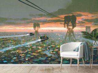 cityscape of slum city in futuristic world, digital art style, illustration painting