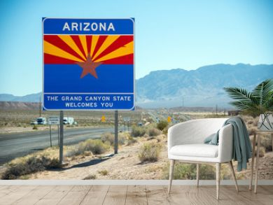 Welcome to Arizona road sign along State Route, USA