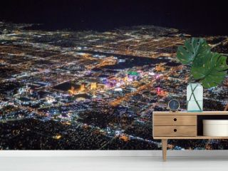 night view of Las Vegas city from airplane