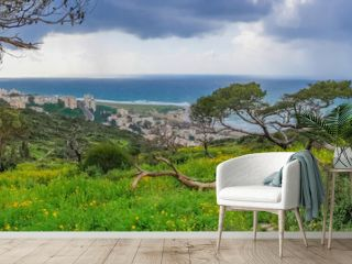 Mount Carmel in Haifa, Stella Maris - Panoramic shot. Travel to Israel in winter.