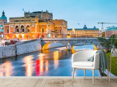 Stockholm city center with Royal Swedish Opera at twilight, Sweden, Scandinavia