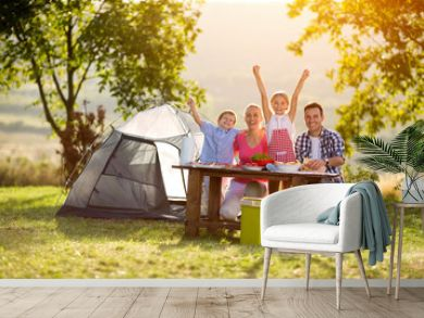 happy family on camping