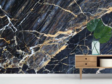 Gold and cream color patterned natural of dark blue gray marble pattern background, abstract marble texture.