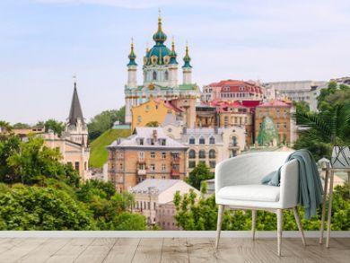Top view of Saint Andrew's church and Andriivska street from above, Kiev (Kyiv), Ukraine.
