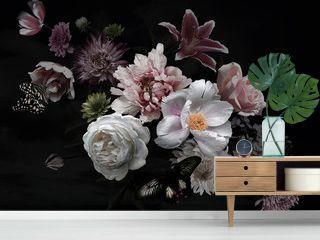 Beautiful garden flowers on black. Floral card. Vintage.
