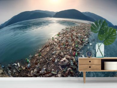 Spring flood and shore with garbage