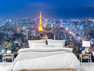 Panorama view over Tokyo tower and Tokyo cityscape view from Roppongi Hills at night in Tokyo at Japan