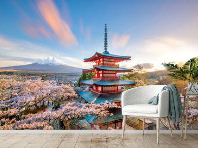 Mountain Fuji and Chureito red pagoda with cherry blossom sakura