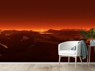 360 degree panorama of sunset on Mars, environment 360 HDRI map. Equirectangular projection, spherical panorama.