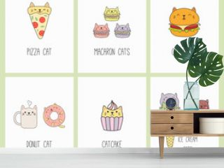 Set of kawaii cards with foods with cat ears, macarons, pizza, burger, ice cream, cupcake, donut, coffee. Isolated objects. Hand drawn vector illustration. Line drawing. Design concept kids print.