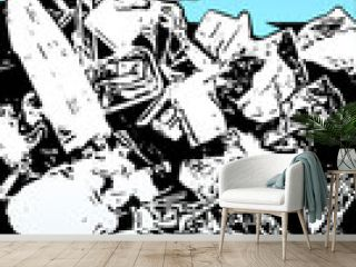 Illustration of a garbage mountain. Waste in modern society. Plastic waste in pop art