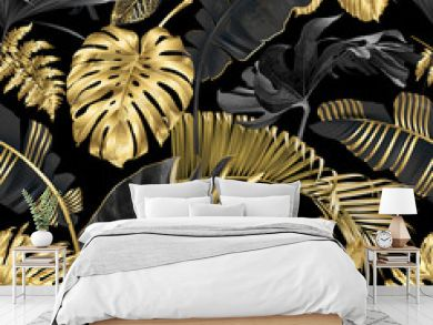 Vector pattern with gold black tropical leaves