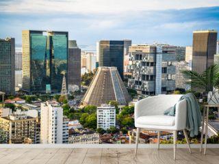 View of Rio city centre including the Cathedral from Parque das Ruínas cultural centre, Santa Teresa neighbourhood, Rio de Janeiro, Brazil