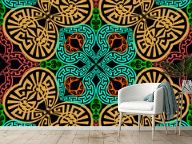 Ornamental colorful greek vector seamless pattern. Abstract geometric background. Repeat decorative ethnic style backdrop. Floral greek key meanders ornament. Tribal design. For fabric, textile, print