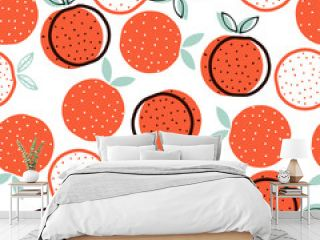 Seamless pattern with geometric orange. Vector hand drawn illustration.