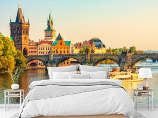 Charles Bridge and architecture of the old town in Prague, Czech republic. Vltava river. Landmarks of the Prague. Old town in Prague.